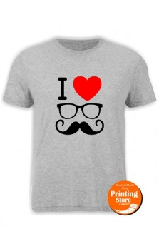 T-shirt I Love glass and mustache