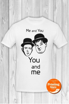 T-shirt Laurel Hardy You And Me White
