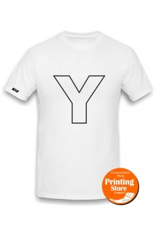 T-shirt Y english alphabet άσπρο