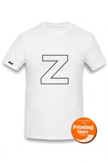 T-shirt Z english alphabet άσπρο