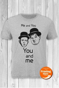 T-shirt Laurel Hardy You And Me Grey