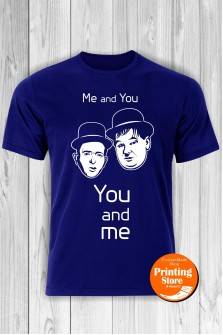 T-shirt Laurel Hardy You And Me Blue