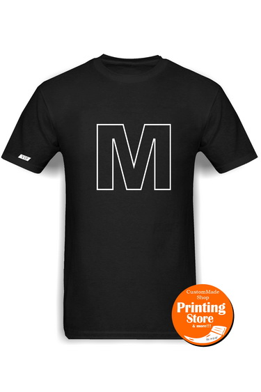 T-shirt M english alphabet μαύρο
