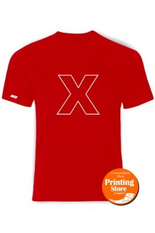 T-shirt X english alphabet κόκκινο