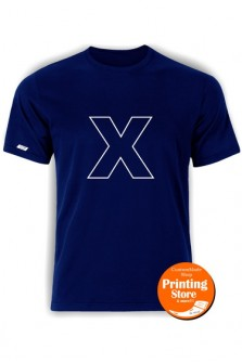 T-shirt X english alphabet σκούρο μπλε