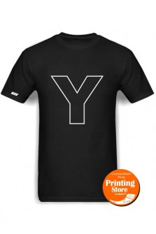 T-shirt Y english alphabet μαύρο