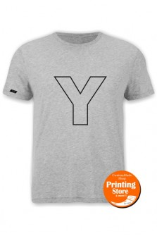 T-shirt Y english alphabet γκρι